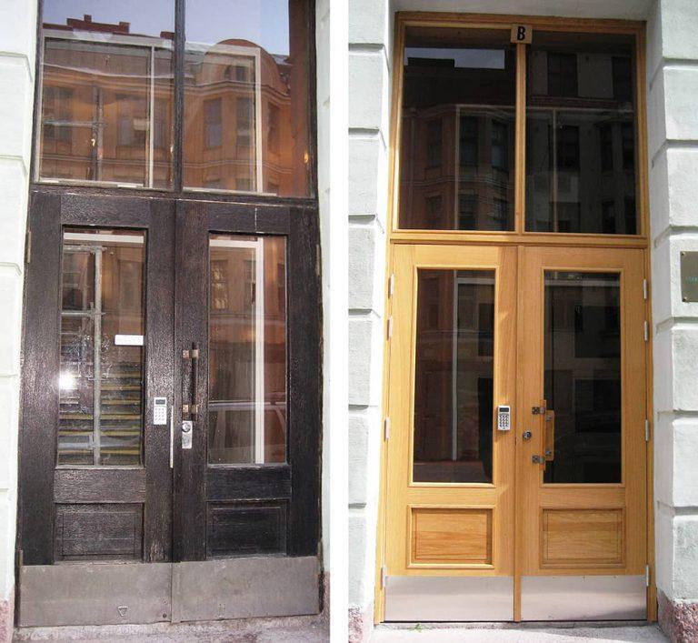 Runeberginkadun ulko-ovi uusittiin mittatilaustyönä